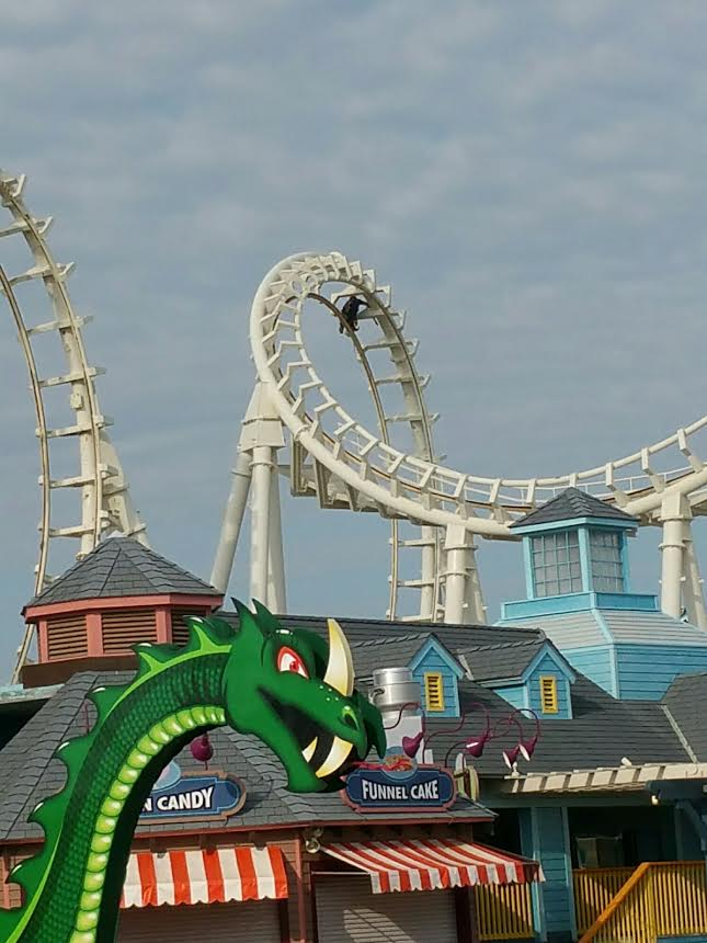 A worker on the Sea Serpent on Mariners Landing